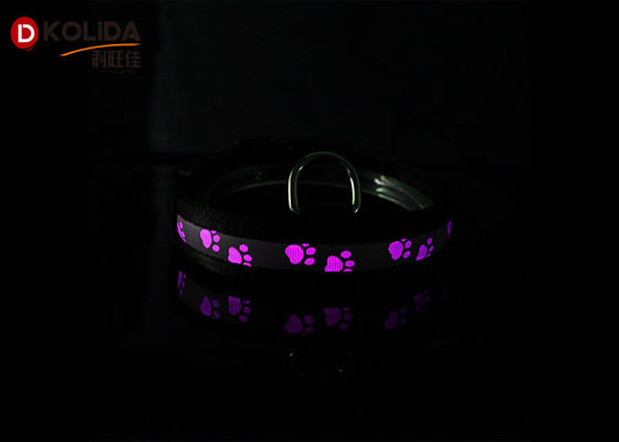 Black Nylon Luminous Dog Collars LED Night Aman Harness Battery CR2032 Dengan 80-120 Jam